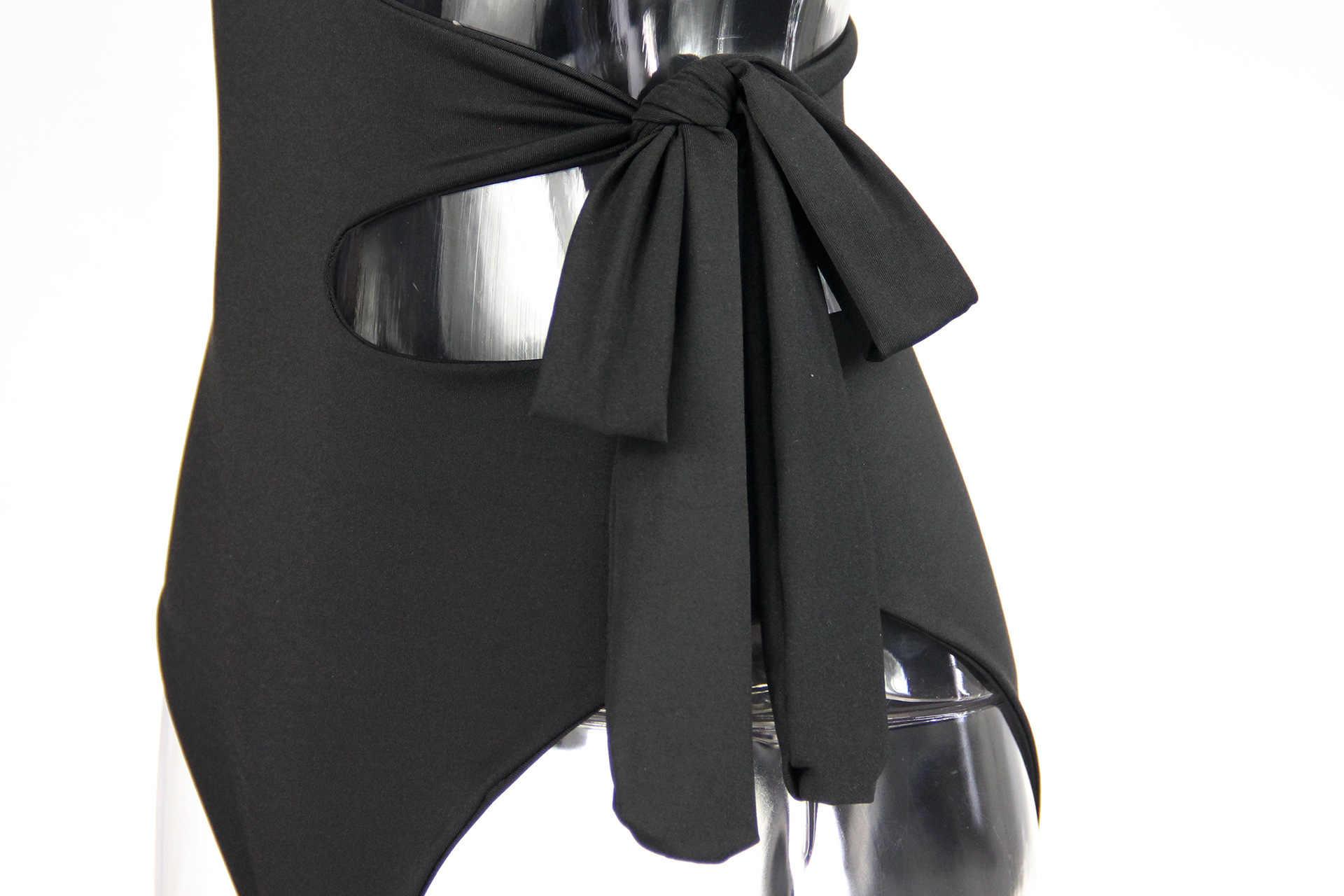 Sexy costura Irregular encaje vendaje hueco un hombro una pieza traje de baño verano monos Xl club nocturno Playa Mujeres