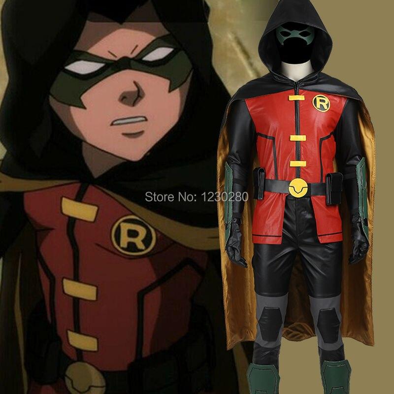 Batman Robin Cosplay Costume Justice League vs. Teen Titans Robin Costume Adult Men Halloween Costume Superhero Sci-fi Costume