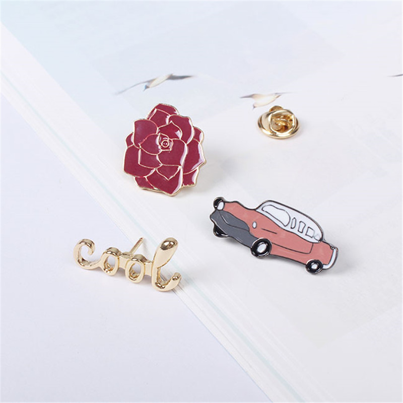 XQ Free Shipping Car rose letters brooch pin accessories badge gold fashion summer dress pin collar