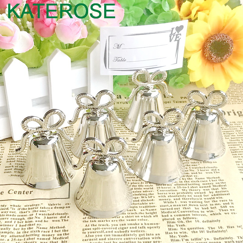 80PCS Silver Bow Kissing Bell Place Card Holder Wedding Shower Table Party Favors