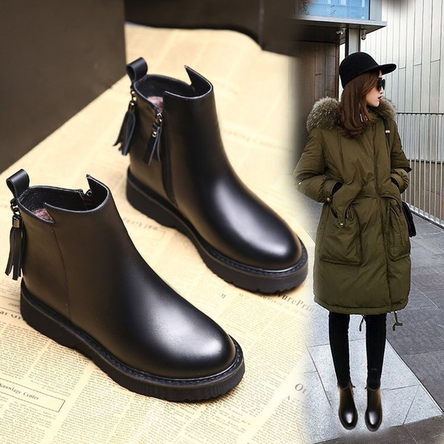 1200644bbebc8 Retro Ankle Boots for Women Autumn Winter Riding Equestrian Flat Plush  Short Boot Fashion Round Toe