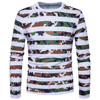 Man S T Shirt 2018 Male Casual Style Striped Camouflage Print O Neck Pullover Long Sleeved