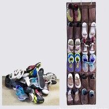 24 Taschen Hängen Über Tür Halter Schuhe Vliesstoff Mesh Organizer Lagerung Wandschrank Tasche-Braun