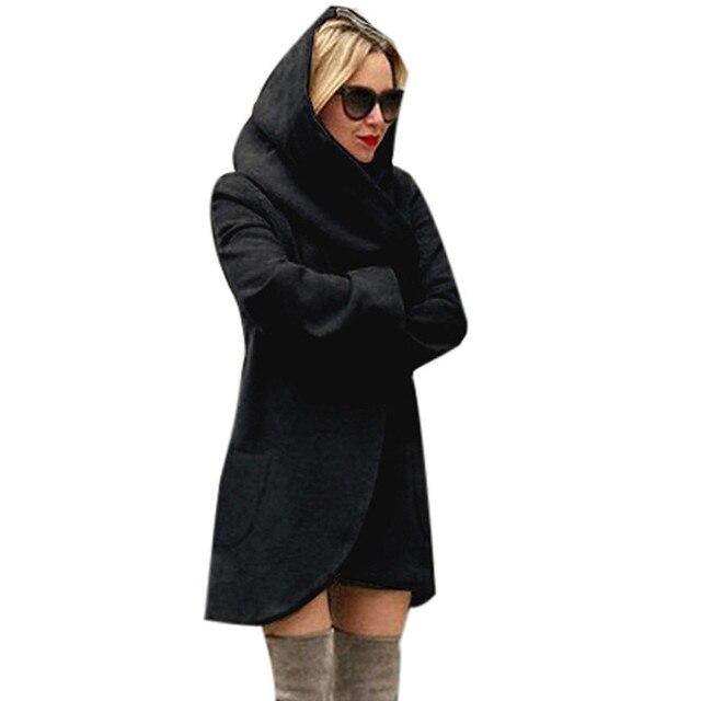 Poliéster De Lã Com Capuz Fino Casaco de inverno Mulheres Soltas Ocasional Das Senhoras Hoodies Casaco Jaqueta Sobretudo Top menina de bolso Fina