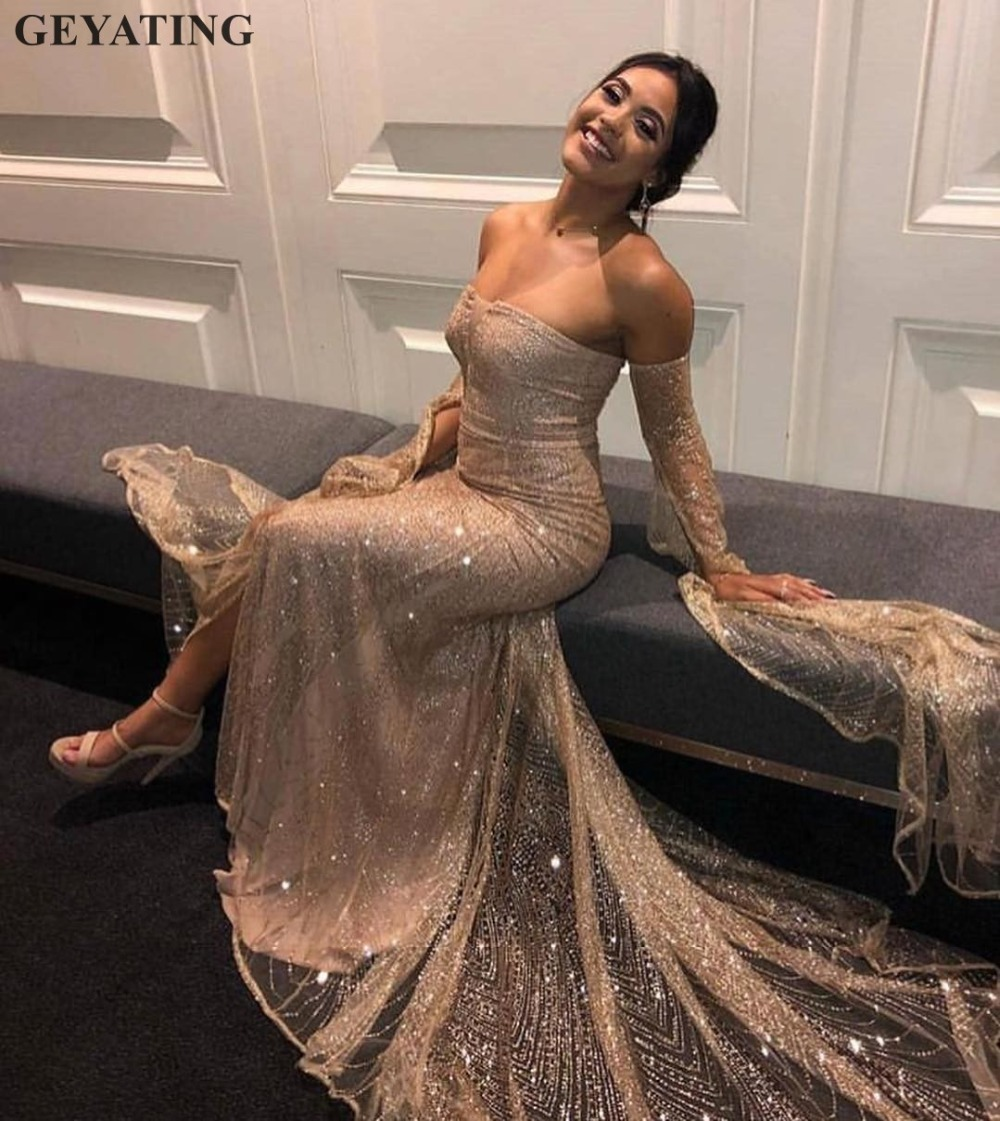 Sparkly Champagne Sequin Mermaid   Prom     Dresses   for Girls Long Sleeve Side Split V-neck Court Train Rose Gold Evening Formal   Dress