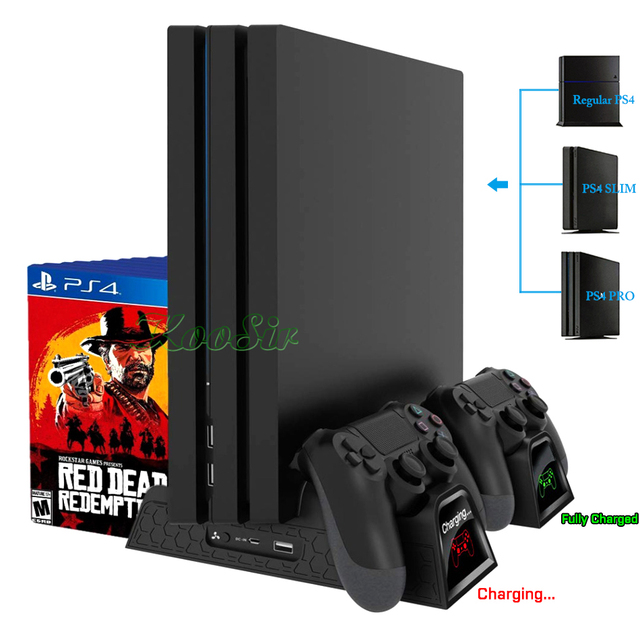 PS4/PS4 Slim/PS4 PRO Console Stand with Cooling Fan Cooler PS 4 Dual Controller Charger Charging Station for SONY Playstation 4