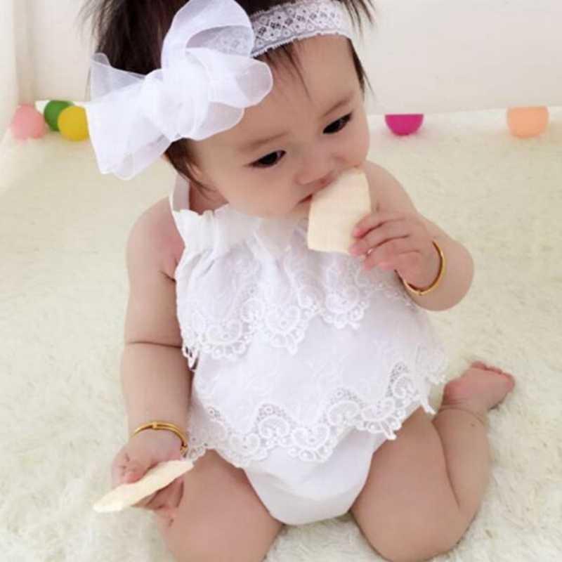 Новорожденных Мода Лето костюм для девочки Цельный Симпатичные 100% хлопок высокое качество кружевной комбинезон для 0-18Months Одежда для девочек наряды