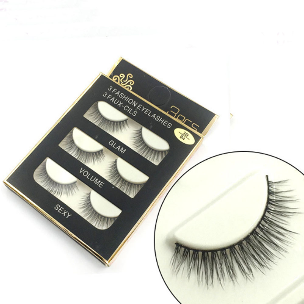 3 Pairs Handmade Faux Mink Long Natural Thick Black False Eyelashes Women Eye Lashes Makeup Tools