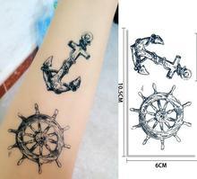 1pc Tattoo Sticker Waterproof Woman Men's Pirate Crew Cultural Anchor Rudder Design Arm Small Picture