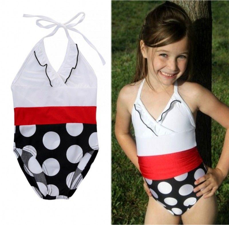 c664c75263 Girls Toddler Swimwear Polka Kids Girls Swimming Costume Summer Sportswear  Bikini Bathing Suit One-Piece Swimsuit
