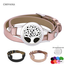 Simple Two Color Twist Locket Bracelet Stainless Steel Accessories Classic Tree Of Life Leather Bracelet(China)