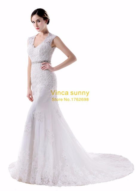 Vinca sunny Bridal Mermaid Wedding Gown Sleeveless Crystal Lace ...
