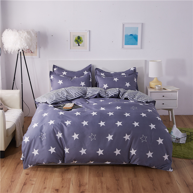 Grey white bedding set 2018 Summer duvet cover set green leaf bedclothes AB side Geometric bed set home bed linen set king sheet