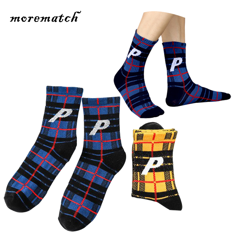 Men's Socks Morematch 1pair Men Sock Striped Lattice Cotton Socks Trend Streetwear Skateboard Socks Blue Yellow 2 Colors Optional Soft And Light