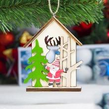 Christmas Wooden Hanging Ornaments Pendant String  for Home Christmas Tree Bar Shop Decor недорго, оригинальная цена