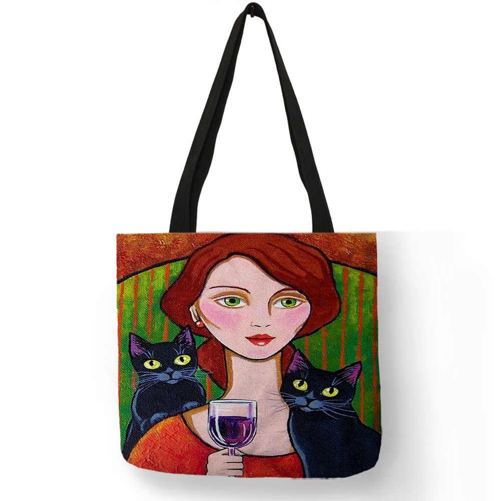 Heldere Kleur Handtas Royal Lady Wijn met Zwarte Kat Afdrukken Schoudertas Hoge Kwaliteit Linnen Vrouwen Meisjes Casual Outdoor Tote tas
