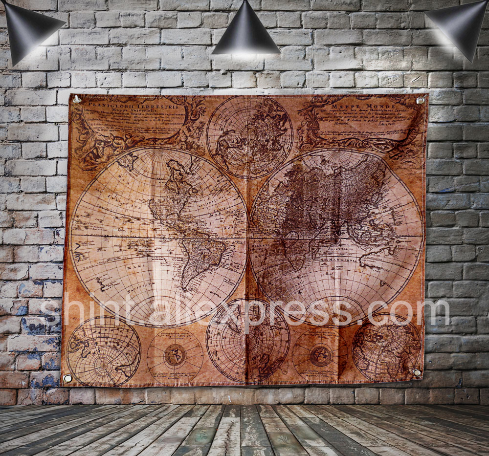 Retro map Flag Banner Polyester 150* 122cm Hang on the wall 4 grommets Custom Flag indoor Decoration Vintage nautical chart