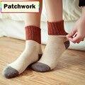 Retro Engrosamiento Calcetines de Las Mujeres del Otoño Invierno de Lana de Conejo Patchwork Calcetines Femeninos Nuevo Japonés 5 Colores Calcetín Estudiantes Calcetería