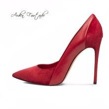 2017 extreme partido Stiletto zapatos de tacones altos 12 cm sexy vestido slip on negro rojo de la boda zapatos de vestir para mujer suede bombas tallas grandes nueva