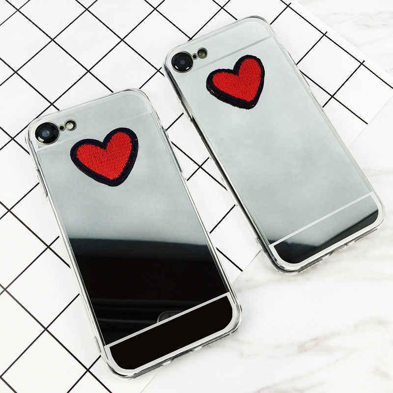 LOVECOM DIY стежки Сердце Серебряный мягкий, зеркальный, из ТПУ Телефон задняя крышка чехол для iPhone XS XR XS Max X 4 4S 5 5S SE 6 6S 7 8 Plus