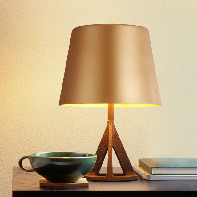 Modern Table Lamp Desk Lights With Metal Matte Pale Gold Shade Black Body.  Hotel Bedroom
