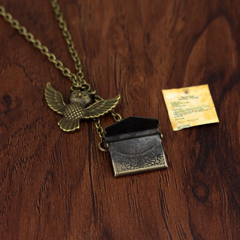 dongsheng Hot Movie HP Hogwarts Admissions Notification Envelope Owl Magic Pendant Necklace Statement Necklace-30