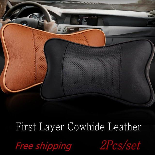 For Honda For Toyota 2pcs/set Car Leather Neck Pillow Soft Memory Cotton Auto Seat Cover Head Neck Rest Cushion Headrest Pillow