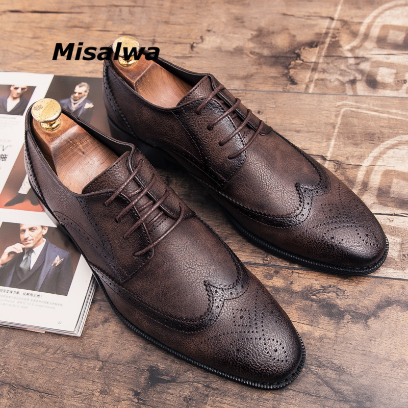 Misalwa Plus Size Black Dress Shoes For Men British Designer Leather Brogue Elegant Comfort Pointed Toe Wedding Flats