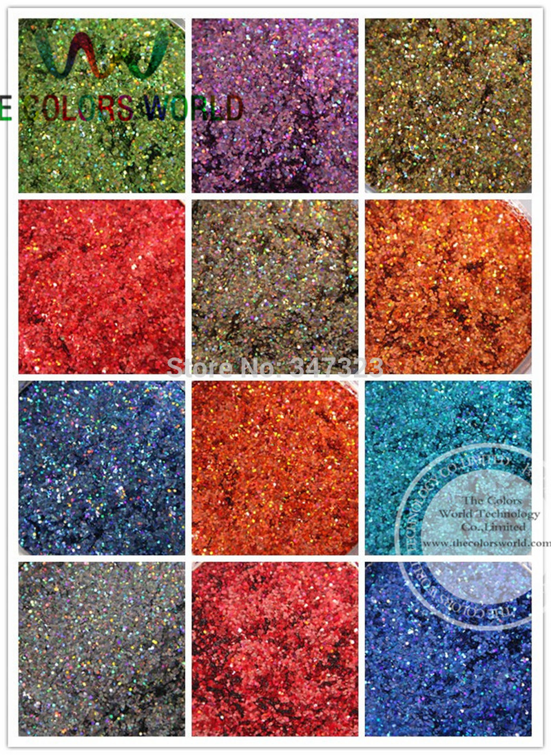 24 Laser Holographic Colors 1MM Laser Glitter Spangles for nail design,art and craft accessories 1 Lot =50g*24 colors =1200g