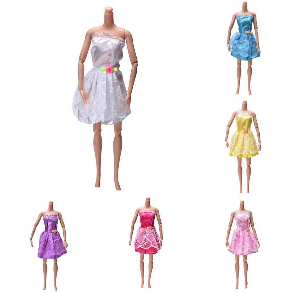 1 шт мини милое платье ручной работы для Куклы симпатичная праздничная одежда Лучший подарок игрушки 6 цветов