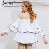 Simplee Casual Long Sleeve Blouse Shirt Women Tops Ruffle White Blouse Chemise Elastic Cool Blouse Blusas
