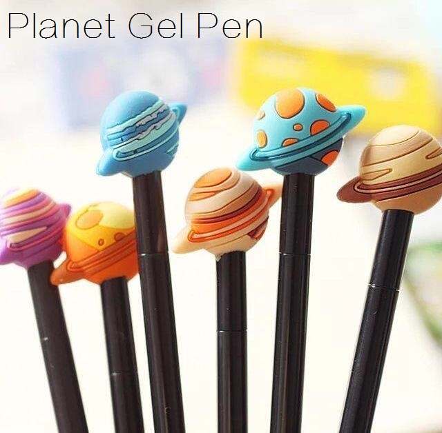 1PCS/Lot Kawaii Vintage 3D Cool Planet design gel pen 0.38mm Black ink signing pen funny gift office school supplies german imports schneider signing pen gel pen elegant business 1pcs