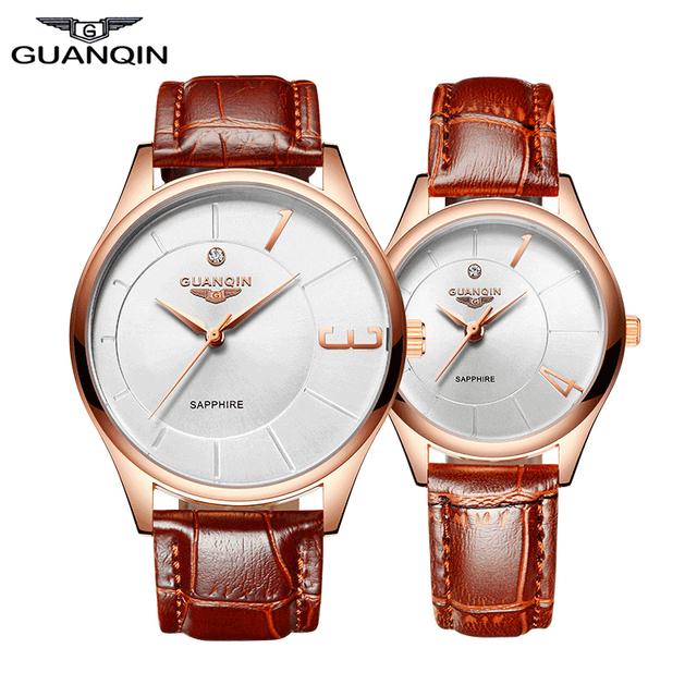 Homens Relógios De Luxo Top 2016 GUANQIN Ouro Novo Estilo De Moda Relógios Pulseira de couro À Prova D' Água Relógio de Quartzo relógio de Pulso do Amante
