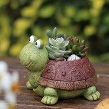 2019 1PC Cartoon Turtle Flower Pot Planter Succulents Green plant Desktop Animal Vase for Mini Bonsai Home Garden Decor Turtle self watering animal planter water absorption cute pot plant bonsai home decor