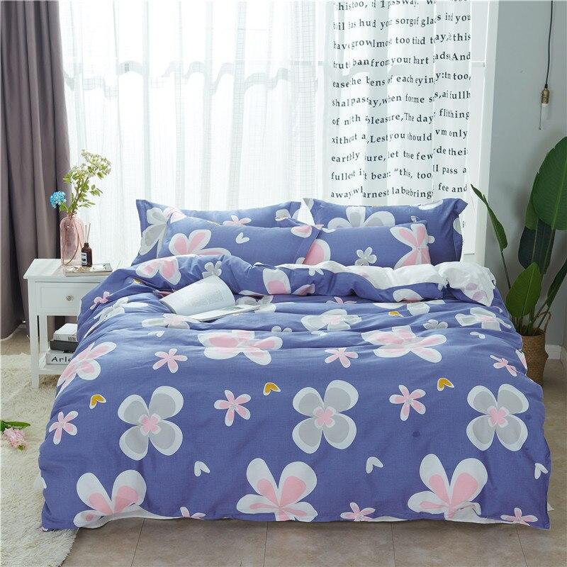 Nouveau Mode Fleurs Rose Bleu Lits Complet Reine Roi Taille Ensemble