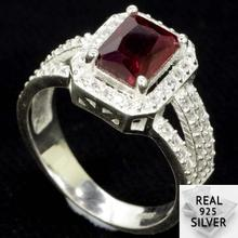 4.8g Real 925 Solid Sterling Silver Blood Ruby CZ SheType Rings US 7.25#  15x10mm