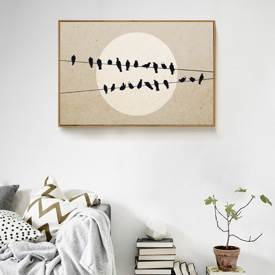Nordic Birds on Wires Moon Obrazy na plátně Krajina Minimalistický obraz na stěně Art for Living Room Decor Unframed