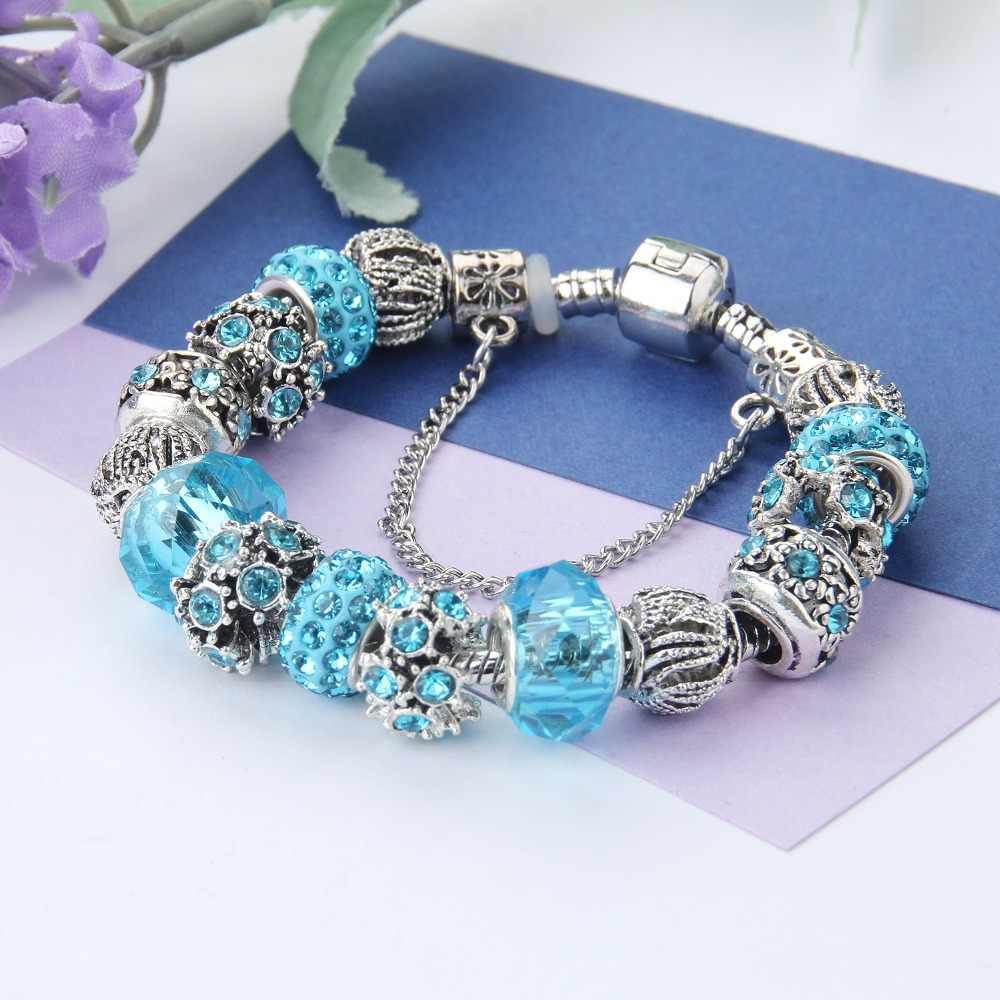 Pandora серебряные браслеты с подвесками и браслеты, хрустальные бусины, браслеты с амулетом для женщин, подарок, вечерние ювелирные изделия, Прямая доставка