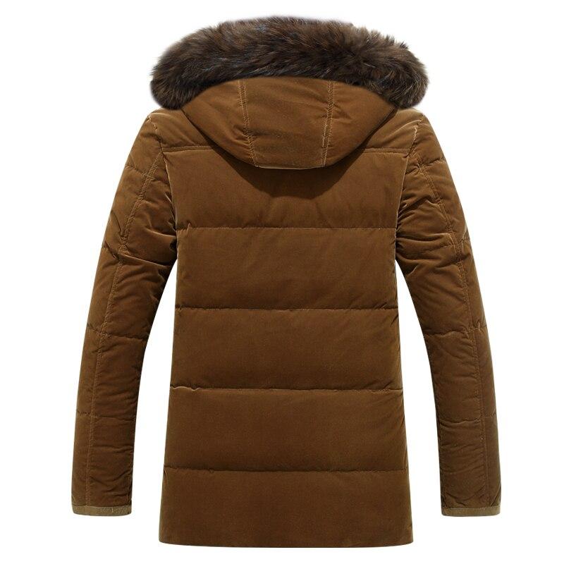 Erkek Kıyafeti'ten Şişme Ceketler'de Marka Erkekler Aşağı Ceketler Kürk Yaka Kalın Sıcak Rüzgar Geçirmez Rusya Kış Ceket Erkekler Beyaz Ördek uzun kaban Erkek Palto 30 derece'da  Grup 3