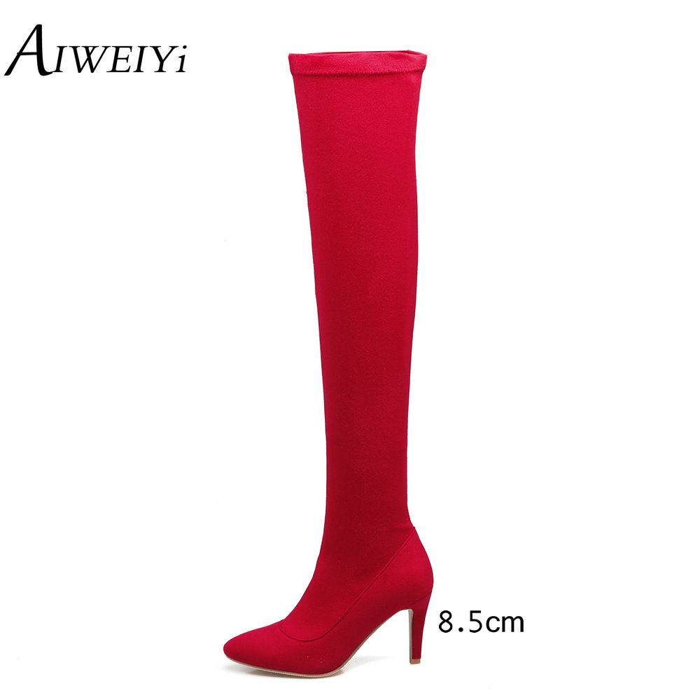 AIWEIYi Over the Knee Boots For Women Fashion Winter Boots Woman Shoes Autumn Winter Zip Thin Heel Thigh High Boot Female Boots lcx 2017 new fashion sweet lady shoes high thigh knee autumn winter over the knee casual women boots plus size boots for women