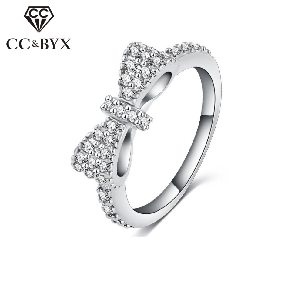 Bowknot Ring Cut Butterfly Rings For Women Rose Gold/White Gold color Crystal Fashion Jewelry Ring Accessories CC502