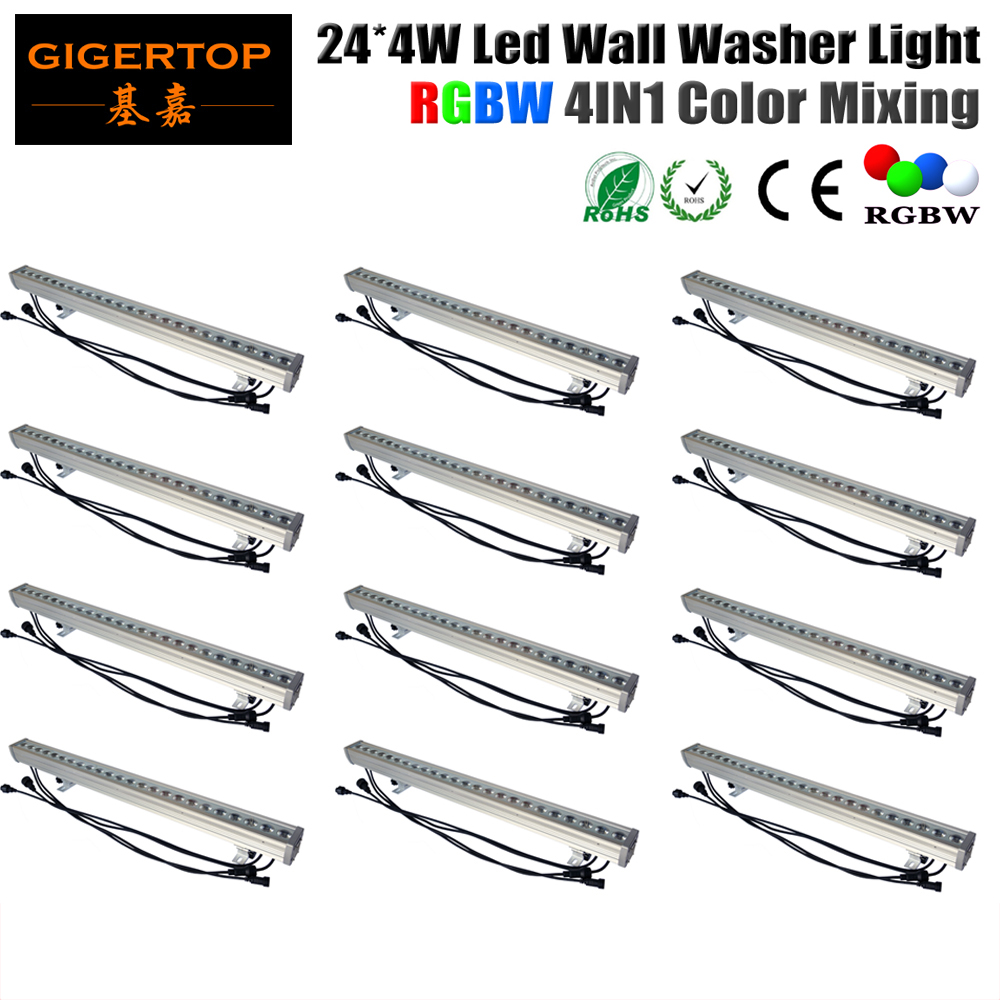 Wholesales 12Pcs/Lot 24x4W 4In1 Led Bar Light RGBW DMX 512 Mode Waterproof Led Washer Light IP65 Rank 90V-240V Free Shipping wholesales buil in led light refractometer zgra 100atc