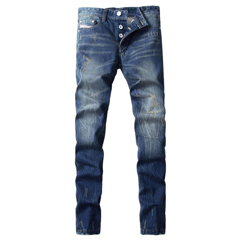 Yeni Gəliş Moda Markası Kişi Cins Mavi Rəngli Yuyulmuş Kişilər üçün Çaplı Cins şalvar İtalyan Dizayner Cins Kişilər, F9003