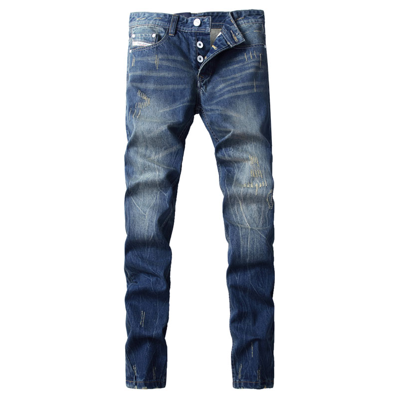 New Arrival Fesyen Jenama Lelaki Jeans Blue Color dicuci Jeans Bercetak Untuk Lelaki Seluar Kasual Pereka Itali Jeans Lelaki, F9003