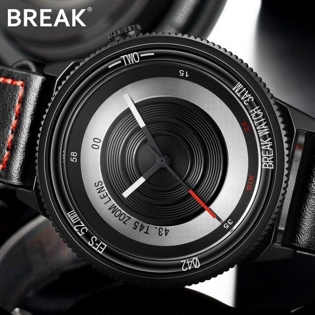 Break Lovers Men Women Unisex Fashion Casual sport Wristwatch Stainless Steel Waterproof  Quartz Creative Camera Style Watches
