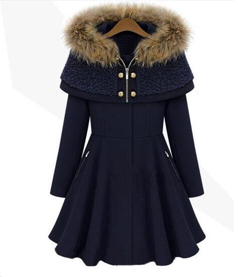 woolen coat female fur collar long sleeve NAVY BROWN women woolen jacket Winter coats women 2017 S 2XL