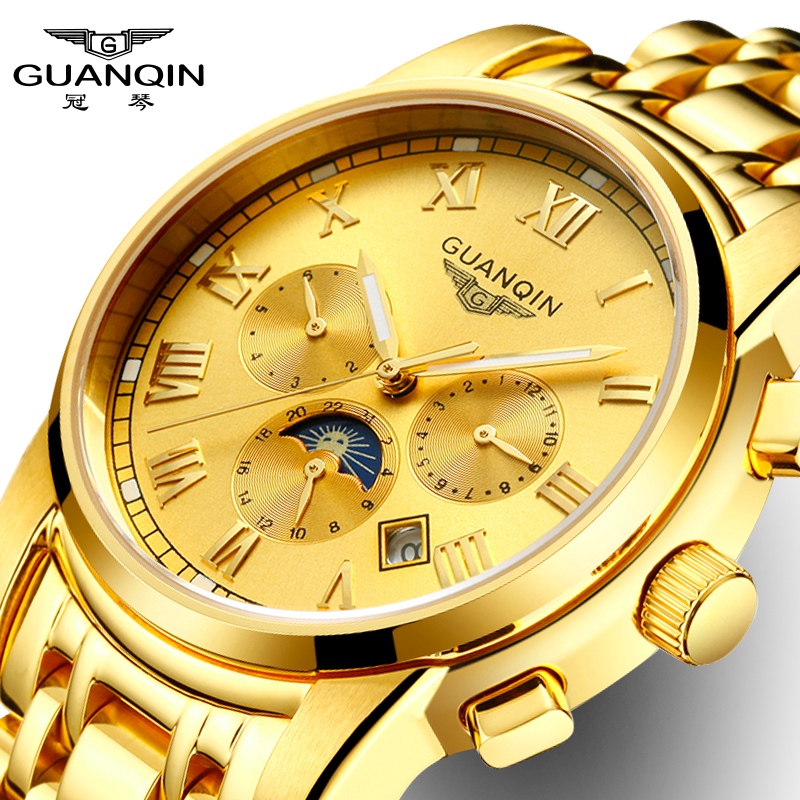 GuanQin Luxury Golden Business automatic watch Men Watches Month Week Date Moon Phase Luminous Sapphire crystal skeleton watch high grade moon phase auto date week month day night watch men luxury brand automatic jargar montre gift box