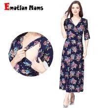Emosjon Moms V-hals Blomster Lang Moderskap Klær Nursing Amning Kjoler For Gravid Kvinner Fest Moderskap Kjole