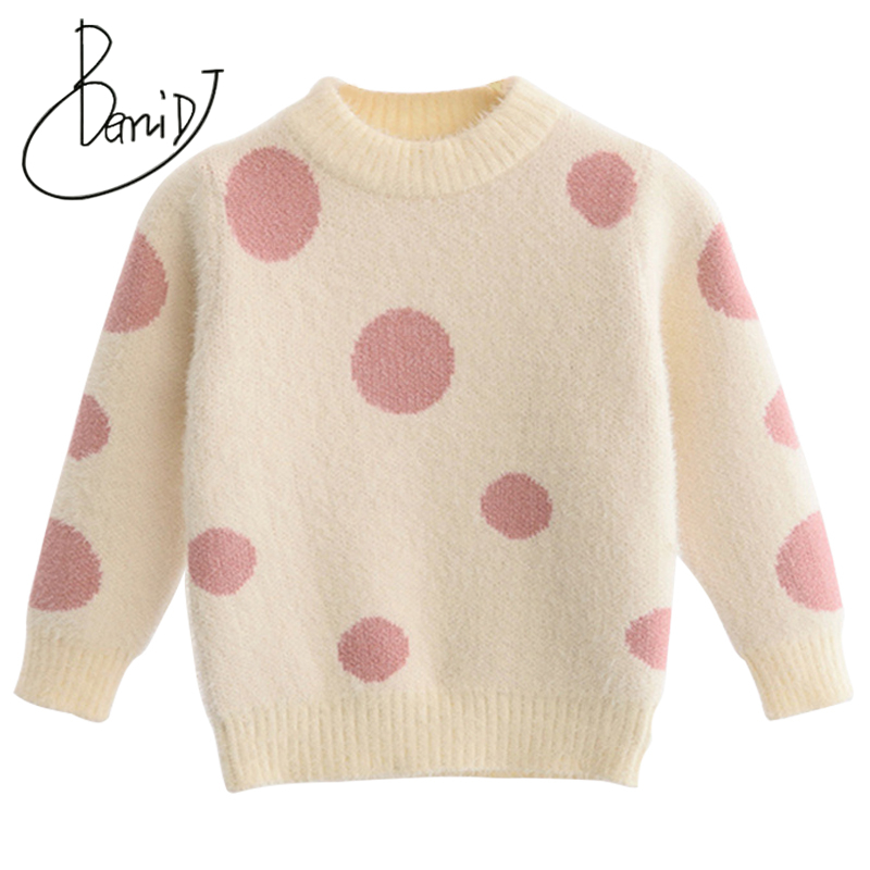 все цены на New 2018 Autumn Girl Outwear Boys pullover Children Sweater Long Sleeve Dot Sweater Baby Girls Tops O-Neck Children Clothes