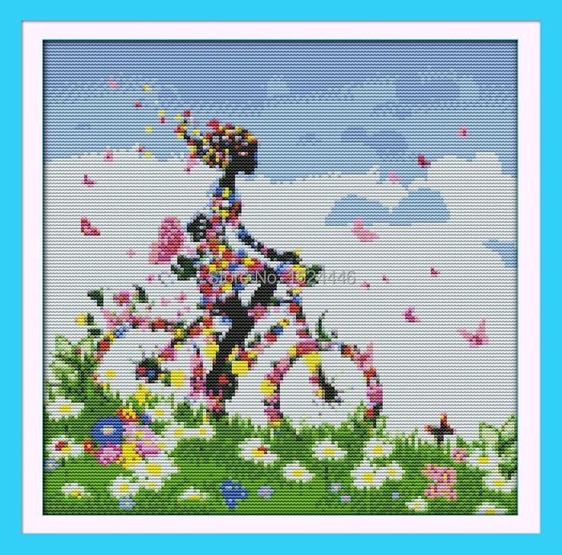 Bloem fee fiets, geteld afgedrukt op doek 11CT DMC 14CT Kruissteek - Kunsten, ambachten en naaien - Foto 2